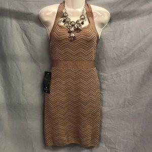 NWT BEBE Metallic Nude Knit Halter Dress Sz Large